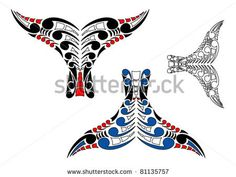 koru art | Vector Download » Stylised Maori Koru Whale Tail Design with color ...