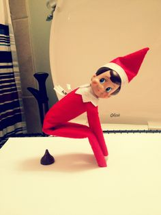 Elf on the Shelf idea (OMG - my boys would think this is hysterical)