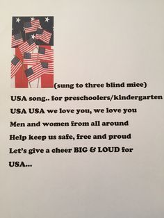 A song for preschoolers to sing on Veterans Day