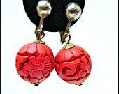 Red Cinnabar earrings carved flower design dangle clip on earrings