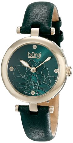 Amazon.com  Burgi Women s BUR128GN Diamond Accented Flower Dial Yellow Gold    Green Leather Strap Watch  Watches 1237c10e4e6