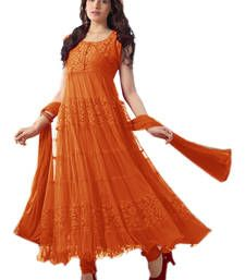 Buy Orange  Net -  Brasso semi-stitched salwar with dupatta anarkali-salwar-kameez online