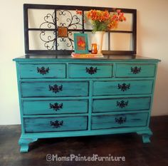 Distressed/Shabby 9 drawer Drexel Dresser in Sherwin Williams Thermal Spring. $399.00