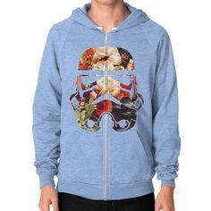Floral Print Stormtrooper Zip Hoodie (on man)