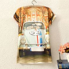 VINTAGE WOMENS SHORT SLEEVE HOUSE CAR GRAPHIC PRINTED T SHIRT TEE BLOUSE TOPS