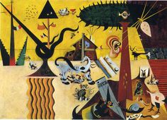 Joan Miró, The Tilled Field, (1923–1924), Solomon R. Guggenheim Museum. This early painting, a complex arrangement of objects and figures, was Miró's first Surrealist masterpiece.[10]