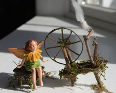 Fairy Spinning Wheel Handcrafted by Olive by OliveNatureFolklore
