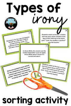 This sorting activity is a great way to practice identifying types of irony including dramatic irony, situational irony, and verbal irony. Use these 50 cards for an activity your kids will love!