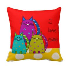 Whimsical Cat Face Pillow Red and Polka Dots http://www.zazzle.com/whimsical_cat_face_pillow_red_and_polka_dots-189863429294255802?rf=238282136580680600