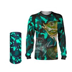 93542c09128 Camisa Máscara Pesca Quisty Tucunaré Nervoso Verde Proteção UV Dryfit  Infantil Adulto - Camiseta de