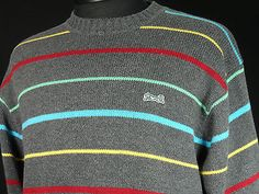 Le Tigre Mens Sweater Size Large Multi Color Stripes Acrylic Blend EUC $24.99 via @Shopseen
