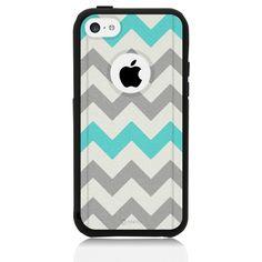 iPhone 5C Case Black Hybrid Chevron Grey Teal by Unnito