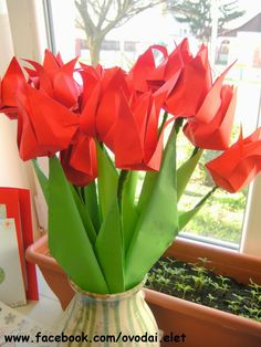 Óvodai Élet: március 2014 Paper Flowers, Origami, Bouquet, March, Drawings, Spring, Plants, Painting, Blog