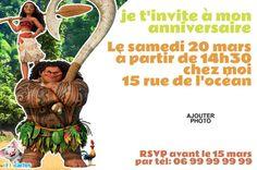 invitation anniversaire Vaiana 1