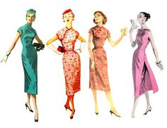 —Left to Right: McCalls 3527, Simplicity 1018, Butterick 7718 & 7790 Vintage Cheongsam Sewing Patterns (旗袍)