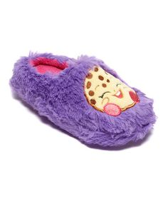 Purple and Kookie Cookie!!! Violet would love these--Look what I found on #zulily! Shopkins Size Purple Kooky Cookie Slipper - Girls #zulilyfinds