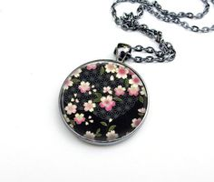 Asian Floral Necklace 30mm Glass Dome Gunmetal by tiffanymcfarland, $20.00