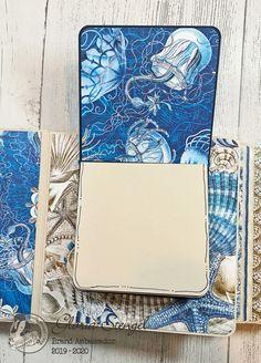 Scraps of Life: Graphic 45 Ocean Blue Mini Album Tutorial Diy Mini Album, Mini Albums Scrap, Mini Album Tutorial, Mini Scrapbook Albums, Chicken Scratch Embroidery, Girl Scout Crafts, Photo Album Scrapbooking, Quilling Designs, Ocean Themes