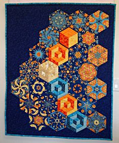 One block wonder--done! Tumbling Blocks Quilt, Quilt Blocks, Star Quilts, Easy Quilts, Quilting Projects, Quilting Designs, Millefiori Quilts, One Block Wonder, Kaleidoscope Quilt