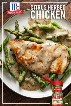 Want something that is ready to eat in 30 minutes? This Citrus Herbed Chicken features lemon, basil and hints of oregano. These flavors pair perfectly with chicken cutlets and asparagus to create a perfect yet easy weeknight dinner. Turkey Recipes, New Recipes, Chicken Recipes, Dinner Recipes, Cooking Recipes, Favorite Recipes, Healthy Recipes, Healthy Snacks, Recipies