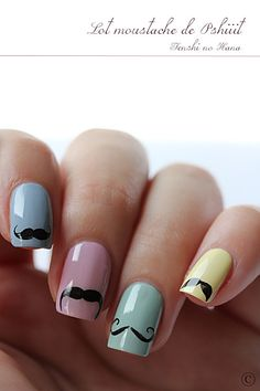 MOUSTACHE!!!! #Moustache #Nail art #Nails #Art #Cute