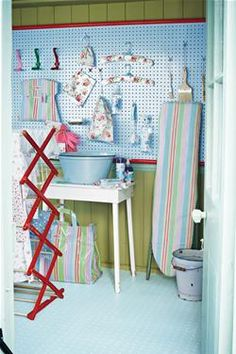 Cath Kidston Laundry Room. Really want some peg board.