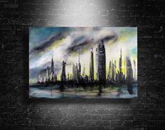 Steel City abstract art painting by Randall Marmet – Marmet Fine Art