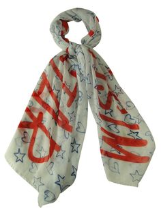 Collection Eighteen Women's Wish Upon a Star Patterned Scarf (Happy Coral, OS)