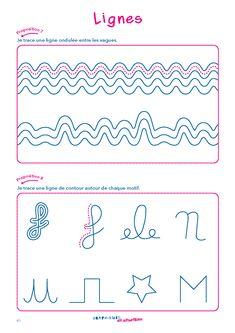 Une fiche d'activité en graphisme pour la MS et la GS pour consolider la capacité à tracer des lignes. Cycle 1, Grande Section, Pre Writing, Drawing For Kids, Pediatrics, Notebook, Bullet Journal, Activities, Ideas