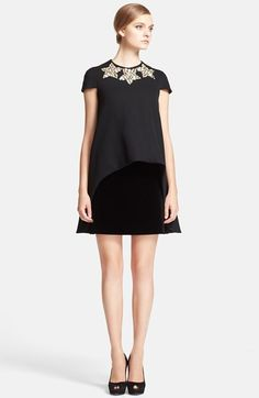 Alexander McQueen Embellished Neck Trapeze Dress available at #Nordstrom