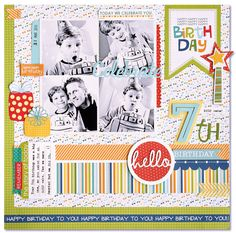 Birthday Scrapbook Layouts, Scrapbook Designs, Scrapbook Sketches, Scrapbooking Layouts, Scrapbook Cards, Happy Birthday Boy, 8th Birthday, Party Layout, Picture Layouts