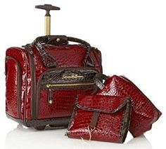 Samantha Brown Embossed Classic Croco Underseater Luggage with Accessories Burgundy Red ** Continue to the product at the image link.