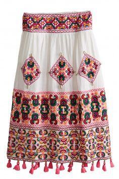 Sakina Hand Embellished Linen Skirt   | Calypso St. Barth