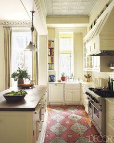 Elle Decor; oriental rug; kitchen