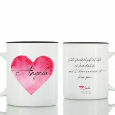 best friends birthday mugs story: A request to create special gifts for precious friends to give away while celebrating her birthday with with them. Each mug is printed seperately with the friend's name , the birthday date and the text : The greatest gift of life is friendship and I have received it from you ...