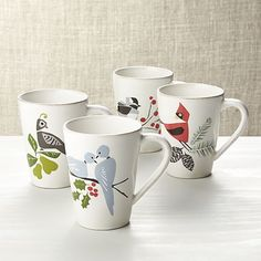 Set of 4 Marin Winter Birds Mugs | Crate and Barrel