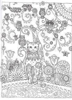 Cat and Owls Abstract Doodle Zentangle ZenDoodle Paisley Coloring pages colouring adult detailed advanced printable Kleuren voor volwassenen coloriage pour adulte anti-stress kleurplaat voor volwassenen