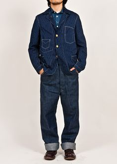 Here is a photo of the denim work jacket, showing the proportions of the silhouette. Workers Japan:Takashi Tateno
