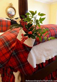 To keep the greenery fresh for a few days, wraps the stems in soaking-wet paper towels and tuck them down into a plastic bag inside the stocking.