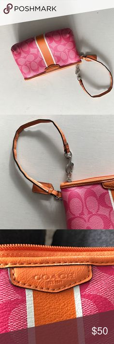 Coach Wristlet Cute little bag for a night on the town. In good condition the wrist is a little cracked but in overall great condition. Coach Bags Clutches & Wristlets