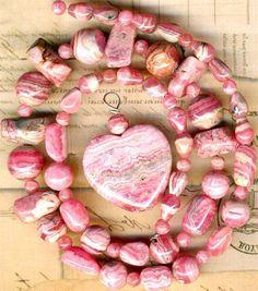 "RHODOCHROSITE Beads Graduated Rounds & Heart Pendant~ Argentina 17"" str. Genuine"