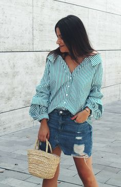 Striped green shirt with denim skirt #style