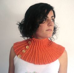 Crochet neckwarmer, coral cowl, cosy scarf, autumn accesories soft and elegant by pipocass