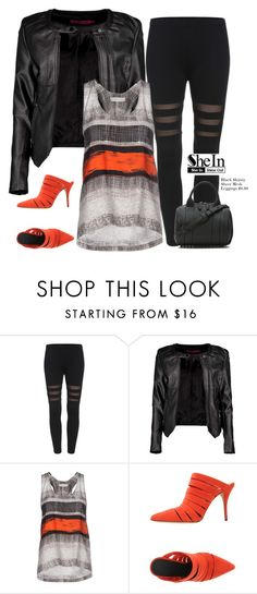 """Shein Black Skinny Sheer Mesh Leggings"" by tawnee-tnt ❤ liked on Polyvore featuring Boohoo, Cédric Charlier and Alexander Wang"