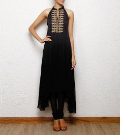 high low hem charcoal grey kurta cum dress with gold hand embroidery Aneehka @ indianroots.com indo-western, fusion wear, destination wedding, tunic, india