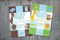 Zoo/safari animal Baby shower invitation for Boy.