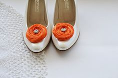 Orange Chiffon Roses Shoe Clips by BizimFlowers on Etsy