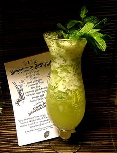 MISSIONARY`S DOWNFALL  4 whole fresh sprigs of mint  1/2 slice fresh pineapple  1.5 oz fresh lime juice  0.5 oz peach brandy  1/4 oz simple syrup  1 oz white rum