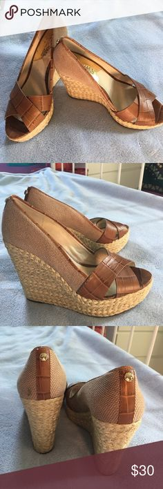Michael Kors Heels MK summer wedge heels, approx. 5-6 inches in height! Good condition, only a few marks and scratches on the inside of one shoe. MICHAEL Michael Kors Shoes Heels