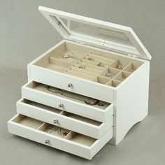 McKenna Leather Large Jewelry Box in white wish it was pleather